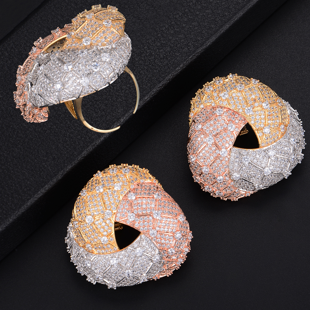 Fashion Geometry Big Size Triangle Shape Hollow Earrings and Ring Jewelry Set For Women Wedding Engagement pair of graceful rhinestone triangle earrings jewelry for women