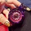 Más reciente Famosa marca vestido de Las Mujeres Reloj de Señora Brillante Rotación Relojes Grande Piedra de Diamante Reloj de Pulsera Rhinestone reloj de cuarzo de Lujo