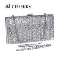 Fashion Women Famous Brands Diamond Clucth Box Bag Lady Silver Wedding Bridal Party Day Clutches Small Shoulder Bags