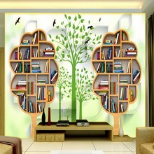 wallpaper 3d Creative bookcase woods modern minimalist TV backdrop wall mural living room hotel bedroom study wallpaper