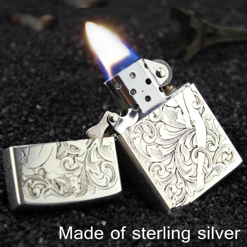 ZORRO argent sterling kérosène briquet 99.99% argent 38.3 gramme avec fait à la main