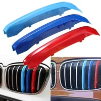 3pcs ABS Front Grill Grille Strip Covers Decoration For BMW X1 F48 2016-2017