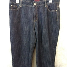 7bb3434a Wrangler capri jeans womens size 14 M dark wash cotton blend 38 x 22
