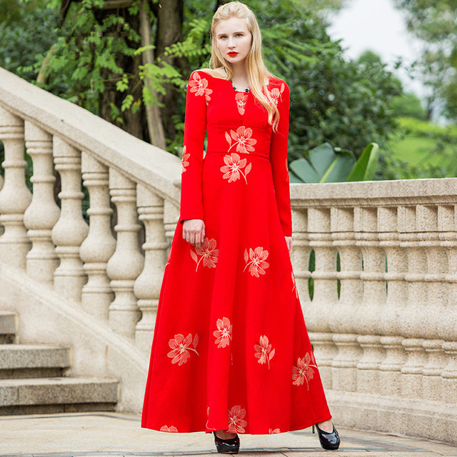 c5983609544b4 High Quality Maxi Long Dress Plus size S 4XL 2018 Spring Women Long sleeve  Floral Print Elegant Red A line Party Dresses-in Dresses from Women's ...