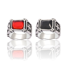 New Wild Punk Style Retro Red Black Jewelry Ring Gothic Cross Mens Girl Personality Domineering Trend Alloy