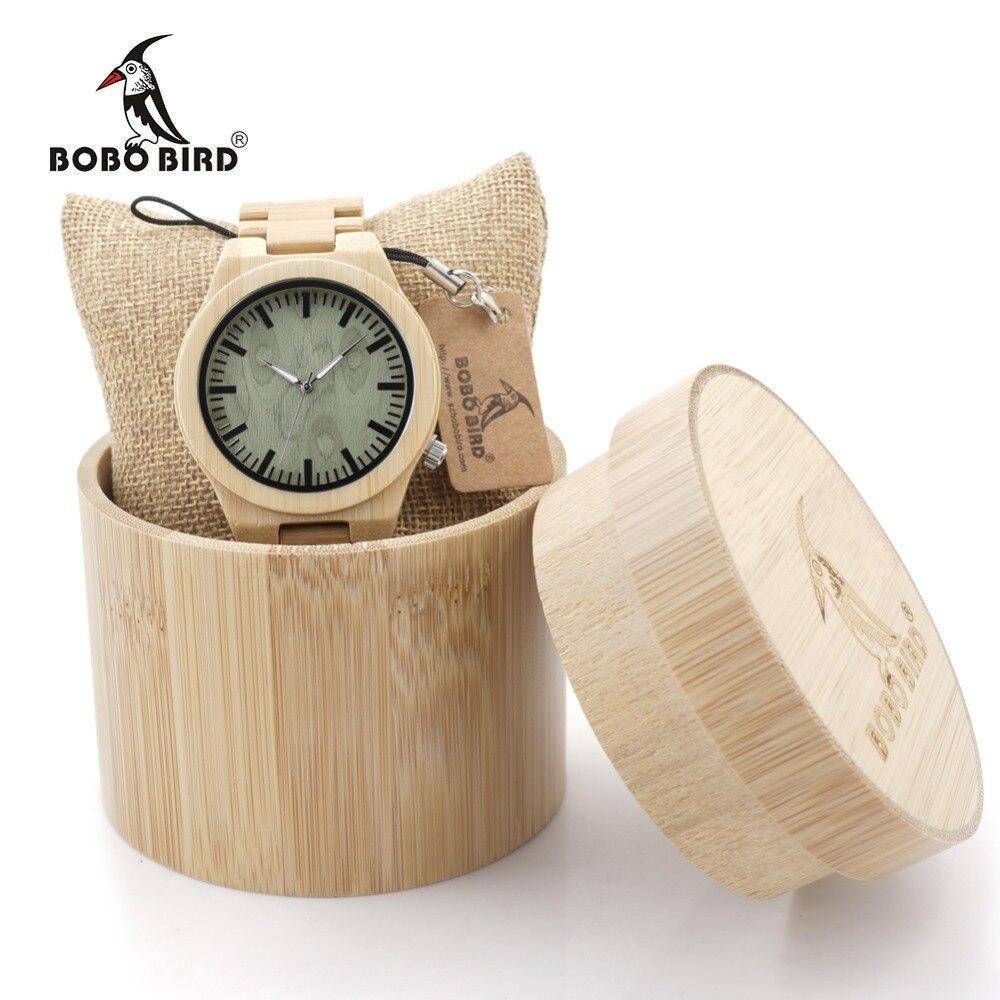 Prix pour Bobo bird b22 brand design creative mode nature bambou hommes montre Argent Pointeur Bambou Bande Quartz Montres Boîte En Bois NOUS ESPAGNE