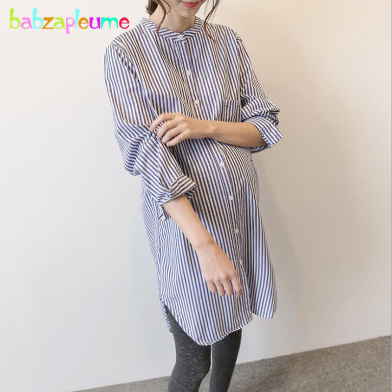 Spring Autumn Maternity Shirts Blouse Pregnant Clothes Long Sleeve Stripe Plus Size Loose Casual Long Tops Women Clothing BC1756