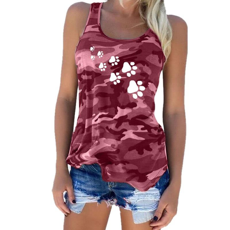 2018 New Fashion Camouflage Dog Paw Print T-Shirt Women Sleeveless Tshirt Top Fe