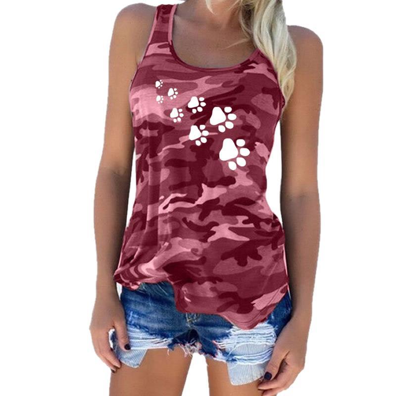 2018 di Nuovo Modo Camouflage Dog Paw Print T-Shirt da Donna Senza Maniche Tshirt Top Femme Divertente Tumblr Kyliejenner