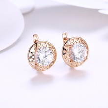 New Arrivals Female White Cubic Zircon Buckle Stud Earrings Women Rose Gold Color Earrings For Femme Geometric Jewelry Wholesale
