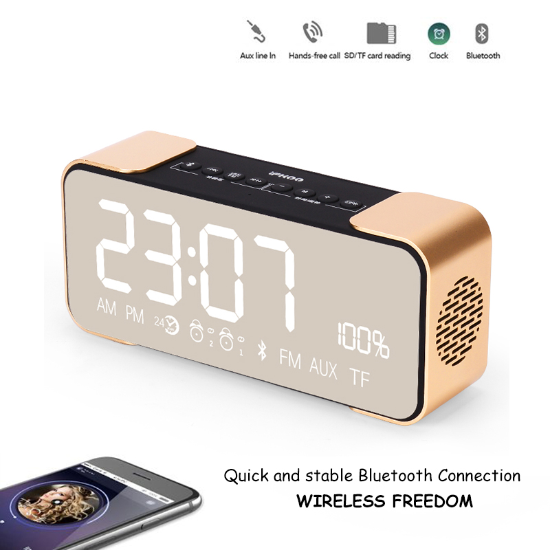 bluetooth speake Alarm clock and makeup mirror wireless bluetooth speaker LED CLOCK