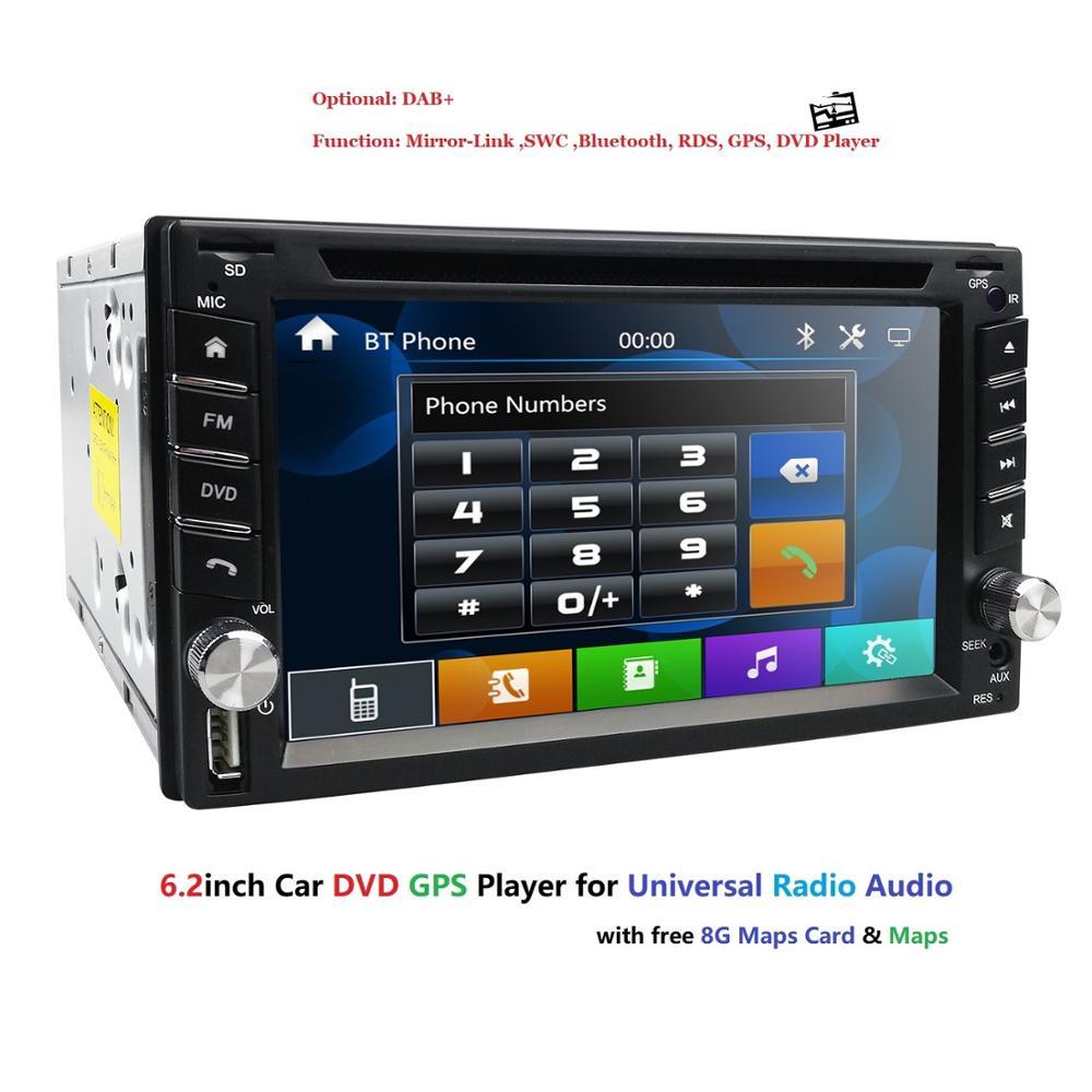 2 Din voiture GPS RadioTape enregistreur 6.2 pouces pour Nissan GPS Navigation Audio stéréo unité de tête SWC SD USB CAM dans l'écran tactile