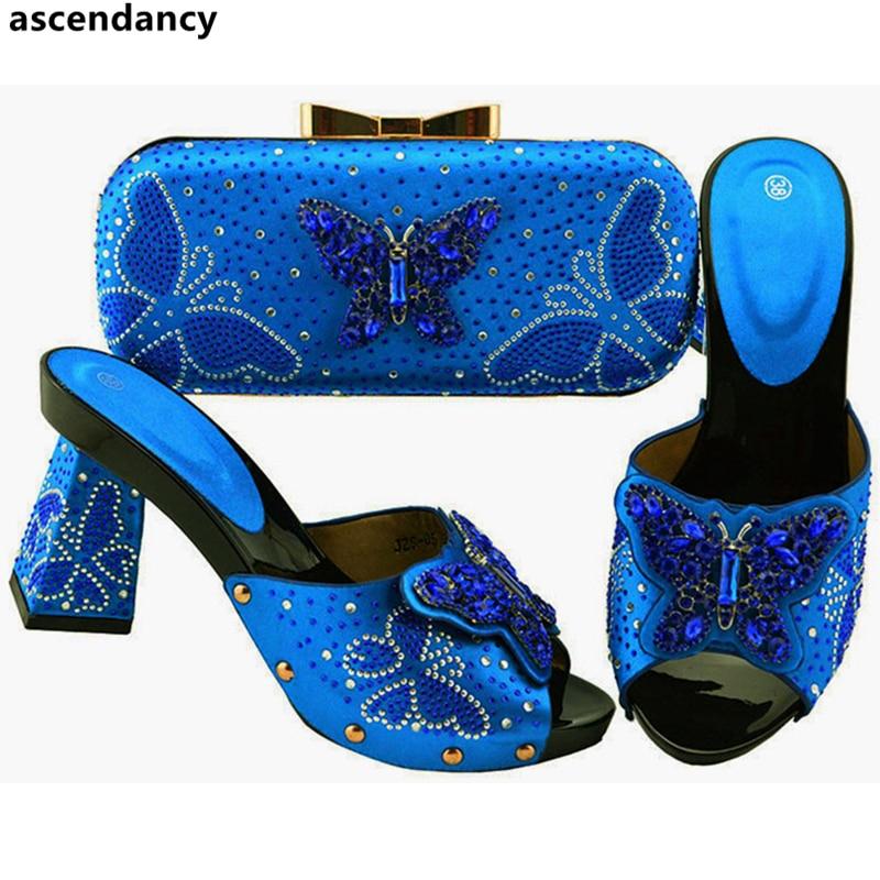 Avec Fuchsia Chaussures Femmes De Conception Les Nigérian Talons bleu Sur Dernières Pompes Lady Des Glissement Parti teal pourpre Sac Le Ensemble Haute Mariage Africaines orange Royal Pour or WqX1wxY5