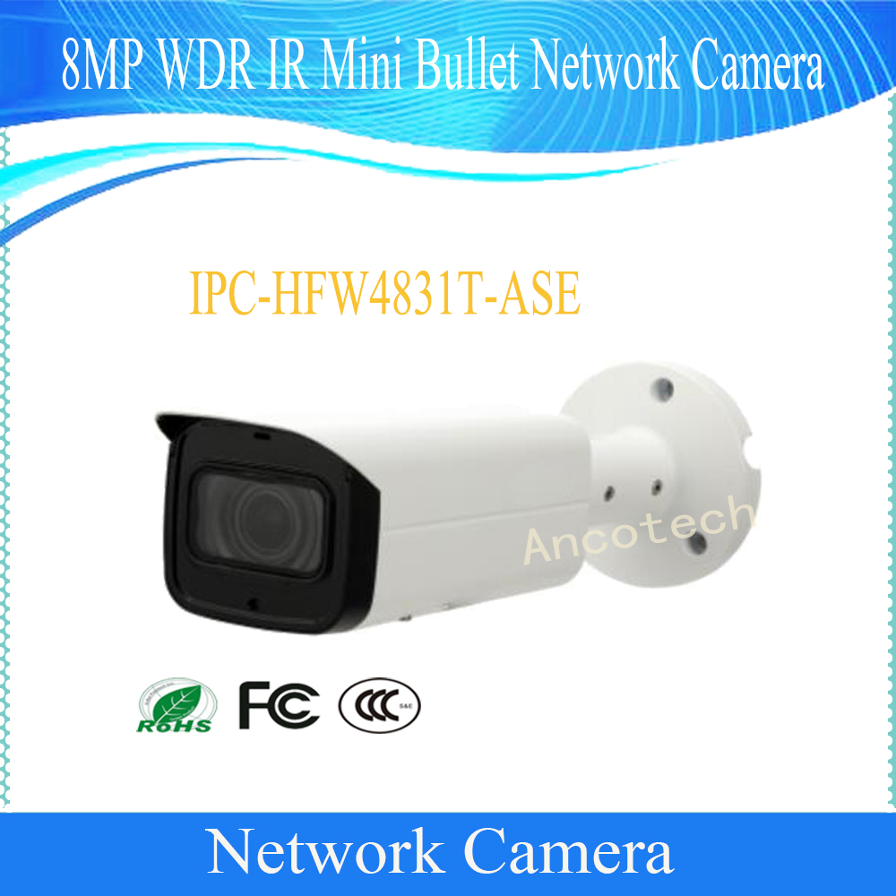 Free Shipping DAHUA Video Camera 8MP WDR IR Mini Bullet Network Camera IP67 IK10 With POE Without Logo IPC-HFW4831T-ASE free shipping dahua security cctv ip camera 5mp wdr ir mini bullet camera with poe ip67 no logo ipc hfw1531s