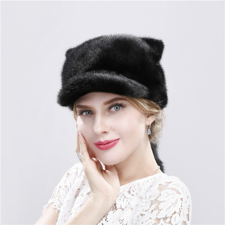 Fur warm winter cap son lovely small tail of pet cat ear the whole skin new ms mink fur hats hm039 real genuine mink hat winter russian men s warm caps whole piece mink fur hats