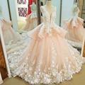 LS91123 mariage robe de mariage 2017 vestido de baile sem mangas lace vestidos de casamento cor de rosa com flores hochzeitskleid fotos reais