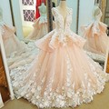 LS91123 robe de mariage 2017 sleeveless ball gown mariage lace pink wedding dresses with flowers hochzeitskleid real photos