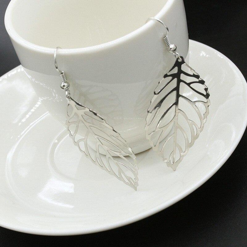 Pendientes Mujer Hot Fashion Wholesale Jewelry Hollow Metal Leaves Dangling Long Statement Drop Earrings For Women Bijoux in Drop Earrings from Jewelry Accessories
