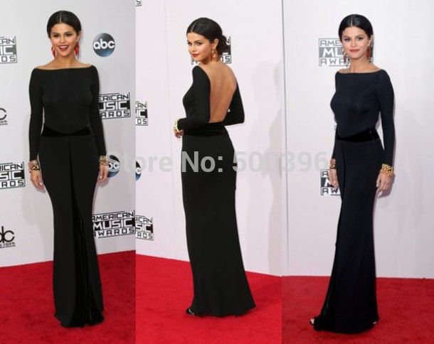 Black Long Sleeve Celebrity Dress 2015 Sheath Red Carpet Gowns