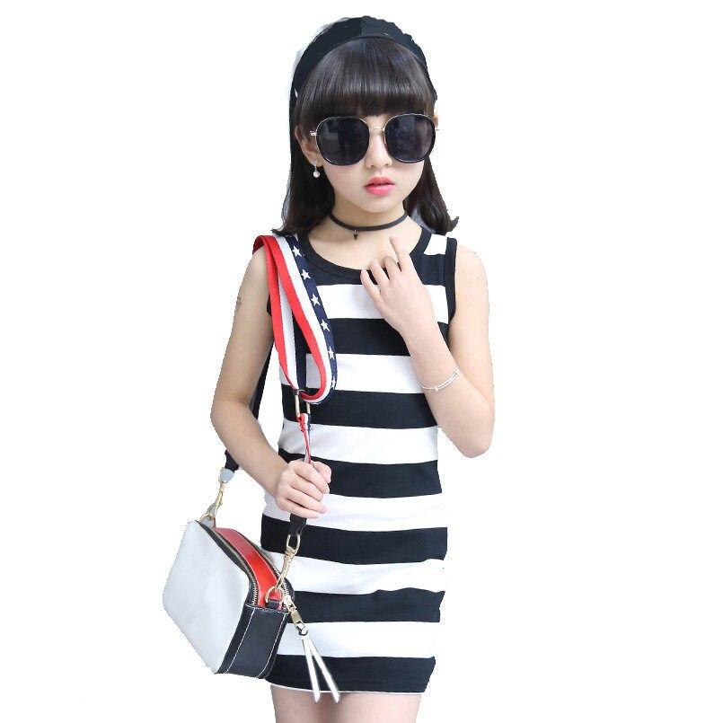 Meninas Vestidos Sem Mangas Crianças Roupas Crianças Coletes Sem Mangas T-shirt Das Meninas Vestidos de praia 2017 Roupa Do Bebê 4 6 8 10 12 ano