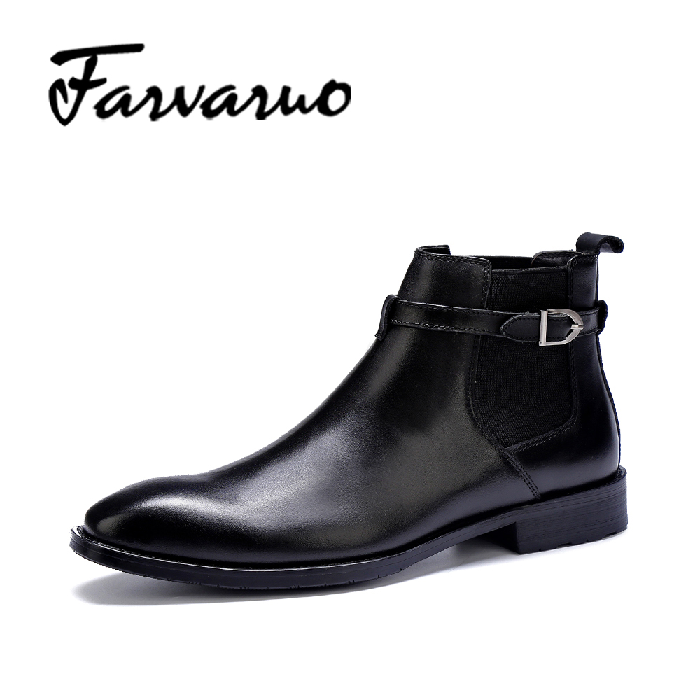 Farvarwo Formal Retro Buckle Chelsea Boots Mens Genuine Leather Flat Round Toe Ankle Slip on Boot Black Kanye West Winter Shoes farvarwo formal retro buckle chelsea boots mens genuine leather flat round toe ankle slip on boot black kanye west winter shoes