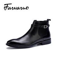 Farvarwo Formal Retro Buckle Chelsea Boots Mens Genuine Leather Flat Round Toe Ankle Slip On Boot