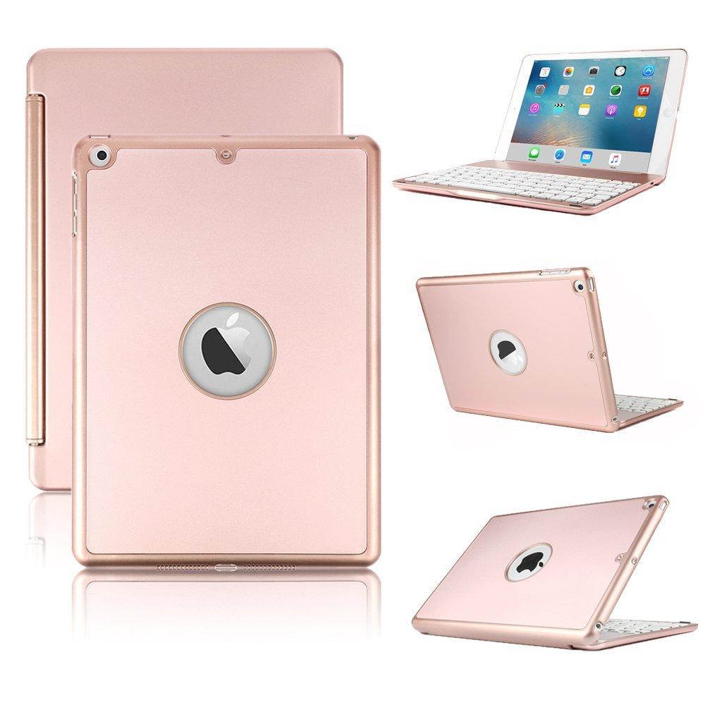 все цены на Keyboard Case for New iPad 2017 2018 9.7 Wireless Bluetooth Keyboard Case Slim Protective Hard Shell Case with Keyboard Cover онлайн