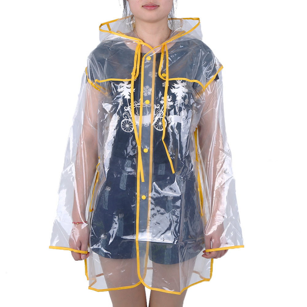 Universal Transparent Rain Coat PVC Vinyl Waterproof Raincoat Outdoor Travel Runway Hooded Poncho Rain Coats Ladies Rainwear Дождевик