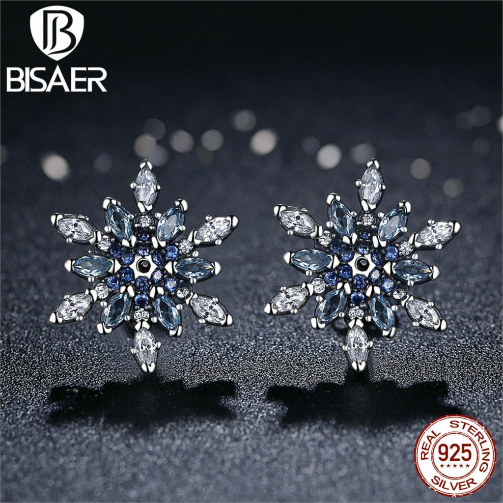 Bijoux 925 Sterling Silver Crystalized Snowflake, Blue Crystals Clear CZ Stud Earrings for Women Earrings Silver Jewelry brincos