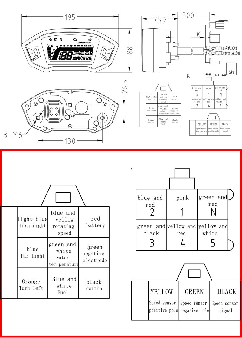 below is the wiring diagram had to do a bit of google searching in case someone wants to use a different speedometer  [ 800 x 1117 Pixel ]