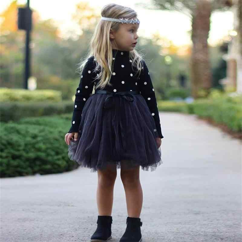 Bebê menina crianças vestidos para meninas de manga longa polka dot crianças outono inverno roupas traje casual crianças escola