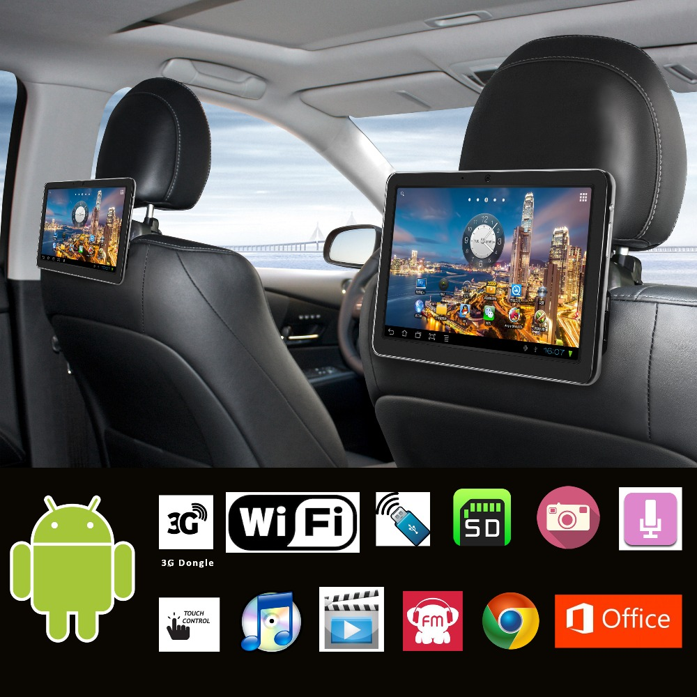 10 1 inch car android pc car headrest android pad with built in wi fi usb sd fm spk camera mic. Black Bedroom Furniture Sets. Home Design Ideas