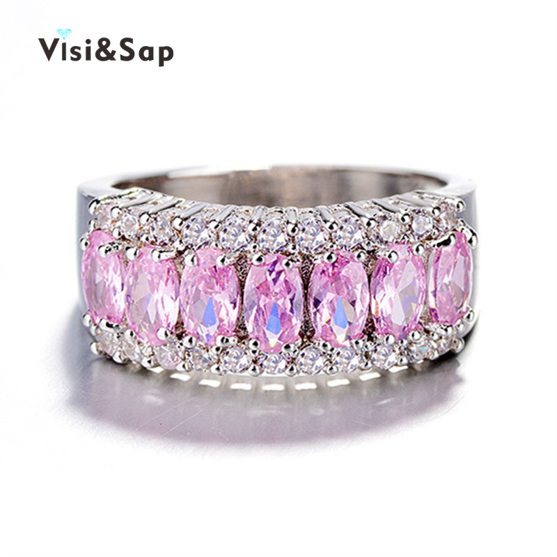 Visisap Vintage Blue Pink Oval Stone Ring Luxury Wedding Rings For Women Fashion Jewelry Lovers Gifts Dropshipping VSR132