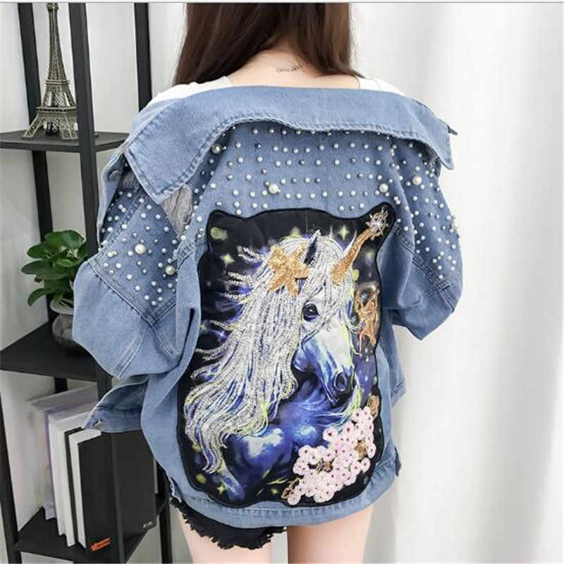 New Beaded Sequins Hole Loose Casual Denim Jacket Cartoon Print Female Student Jacket 2018 New Autumn and Winter