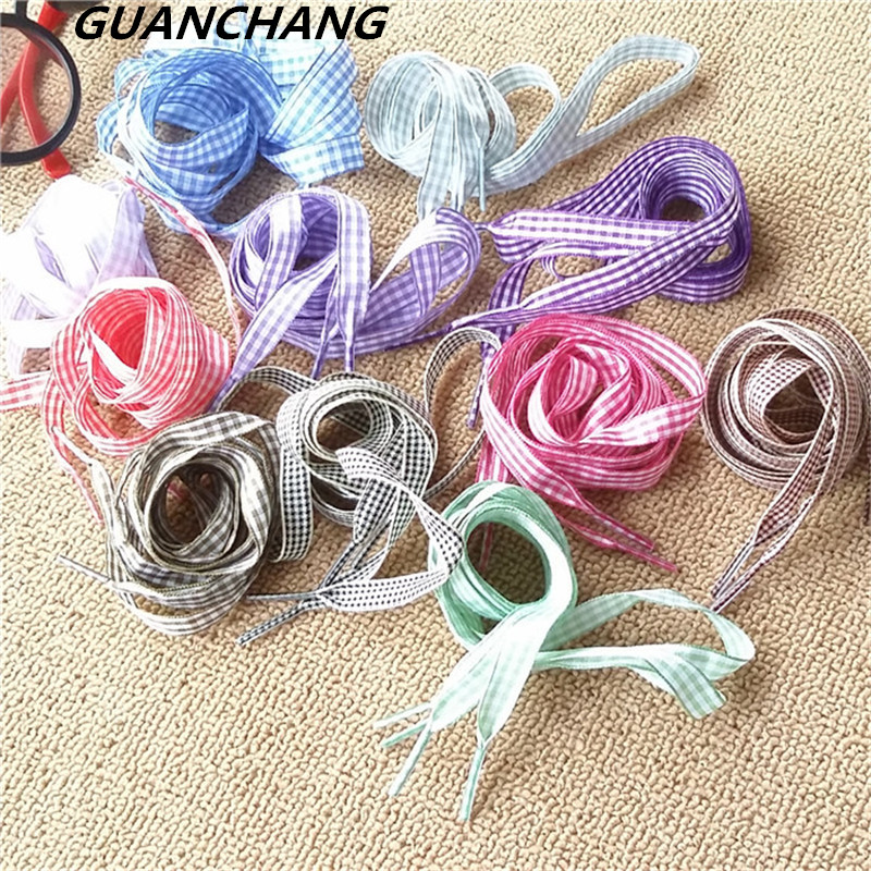 High Quality Fashion Shoestrings Women Shoelaces Flat Width Silk Satin Ribbon Shoe Laces Sneakers Sport Shoes Bow Multi Colorl