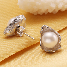 925 Sterling Silver Stud Earrings For Women Natural Freshwater Pearl Jewelry Fashion Bohemian Geometric Pearl Earrings