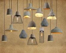 Творческий искусство цемента подвесные светильники новый ретро Бетона железные чистая кафе ресторан кафе подвесной светильник склад ретро смолы