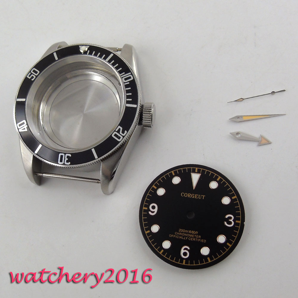 41mm corgeut hardened stainless steel watchcase luminous Mark black Dial + Hands + Watch Case fit ETA 2824 2836 Movement 41mm pvd black steel case dial hands luminous set for eta 2824 2836 miyota 8215 movement