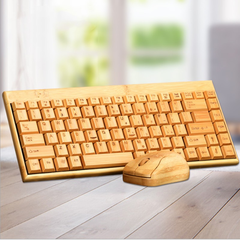 Bamboo Keyboard Mouse Wireless Combo Set For Laptop PC B Office USB Plug And Play ,Natural Mice Keyboard Novelty Christmas Gifts