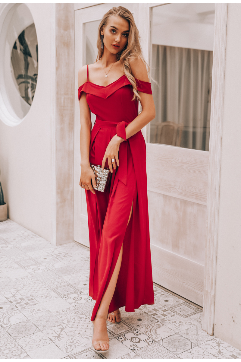 HTB1jo.NaOLrK1Rjy1zdq6ynnpXaS - Simplee Sexy off shoulder women jumpsuit romper Elegant high waist red jumpsuit long Summer wide leg lady playsuit overalls