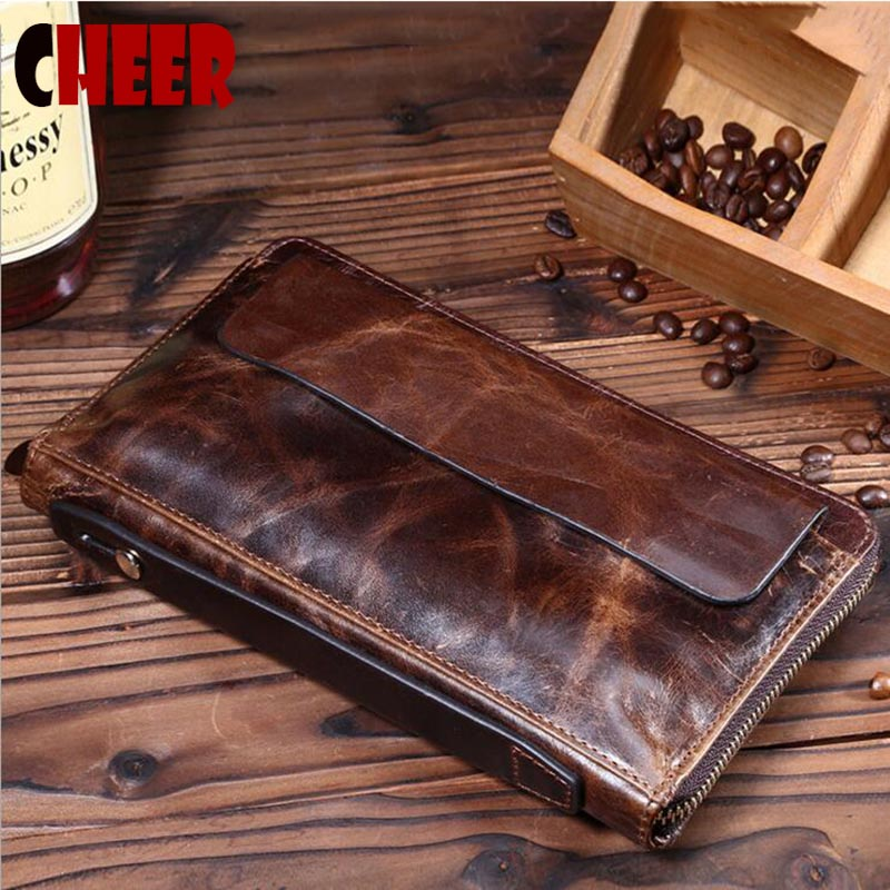 New design fashion genuine leather clutch bags oil Wax paper business men wallets casual multi card holder vintage purses 2017 genuine leather wallets for men men s business clutch bag for phone cases brand design cowhide multi function casual bags