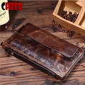 Nuevo diseño de moda de cuero genuino bolsos de embrague de aceite papel de Cera ocasional titular de la tarjeta de negocios hombres carteras vintage monederos