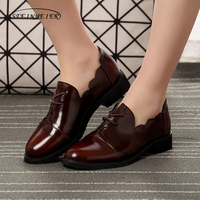 Women genuine leather brogue oxford shoes woman brown simple handmade vintage retro casual flat shoes for women