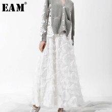 [EAM] 2019 YC237 春の新ファッション黒、白タッセルステッチビッグ振り子ロングタイプ半身スカート女性