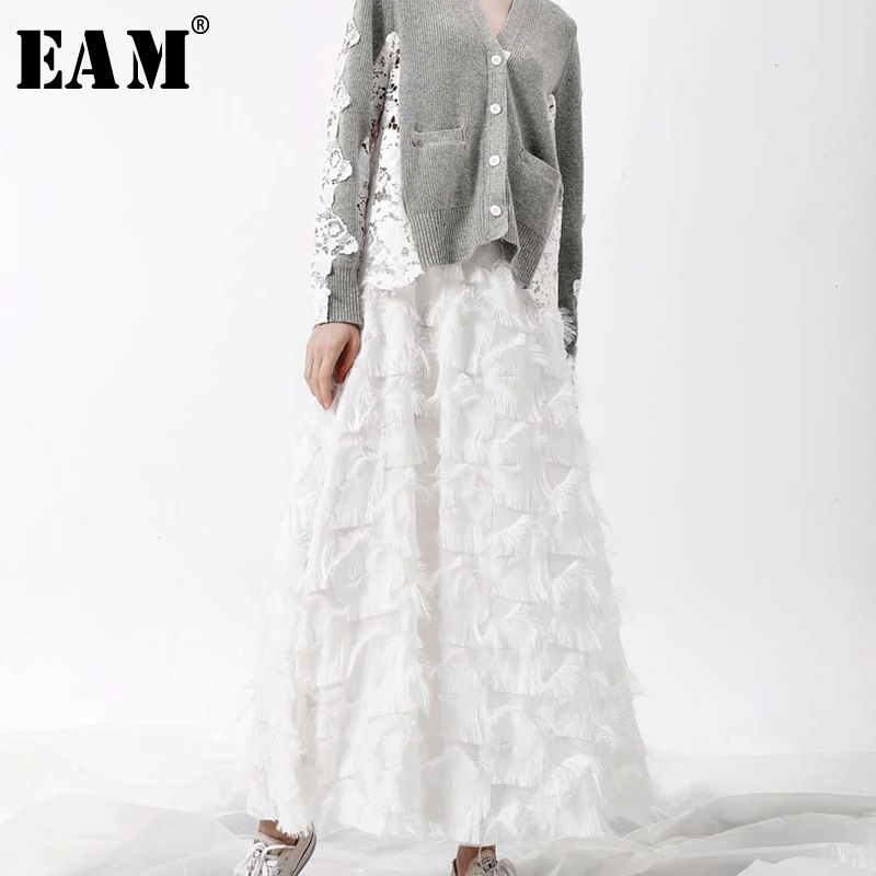 [EAM] 2020 Spring New Fashion Black White Tassels Stitching Big Pendulum Long Type Half-body Skirt Women YC237