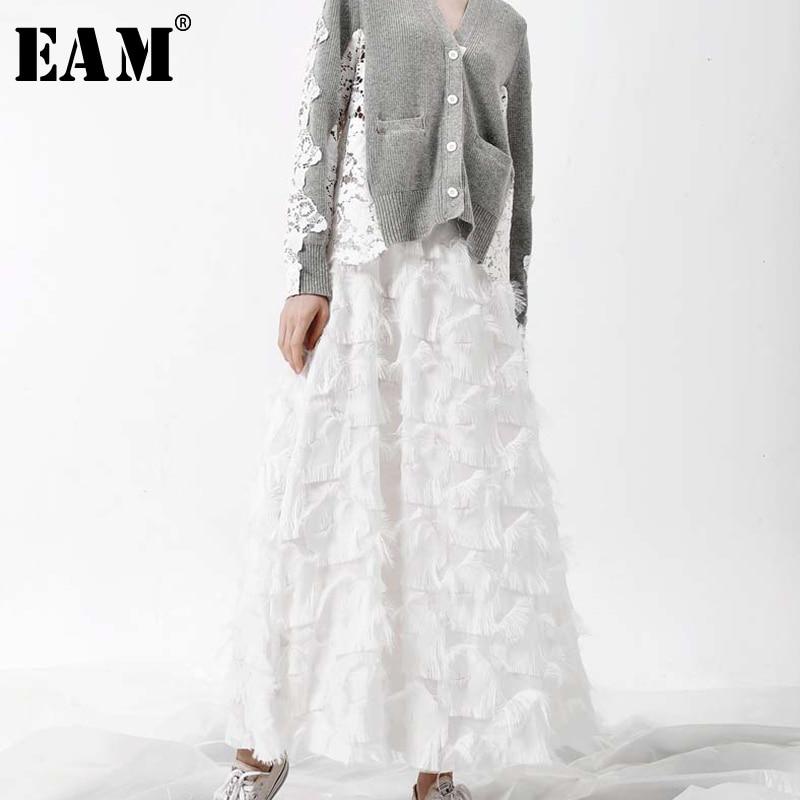 [EAM] 2020 Spring New Fashion Black White Tassels Stitching Big Pendulum Long Type Half-body Skirt Women YC237