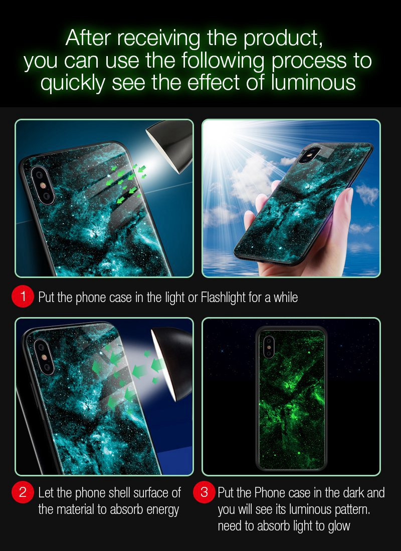 TOMKAS Luminous Starry Luxury Case for iPhone X Xs Max Xr Glass Phone Cover Christmas Silicone Case for iPhone 7 8 6 S 6s Plus (5)