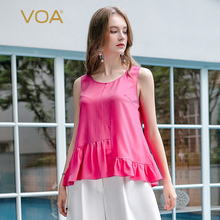 VOA 2017 Summer Fashion Rose Red Sleeveless Tank Tops O Neck Casual Simple Plus Size Loose Cool Women Silk Clothes BSA00501