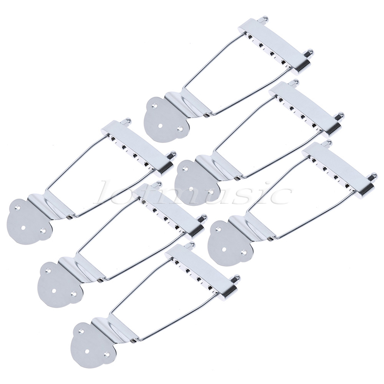 6Pcs Chrome 4 String Trapeze Archtop Tailpiece 15mm Spacing for JBass Replacement Parts high quality 6 string jazz archtop guitar trapeze tailpiece bridge golden and chrome