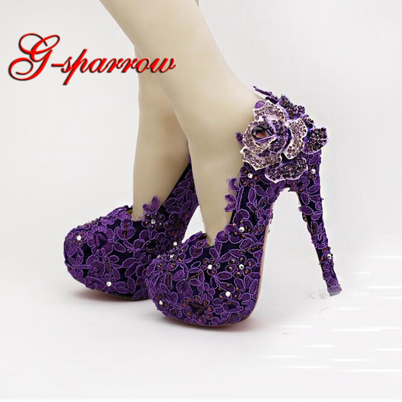 High Heel Fashion Fower Rhinestone Bridal Shoes Purple Lace Wedding Shoes  Beautiful Platform Crystal High Quality e2b912540fdd